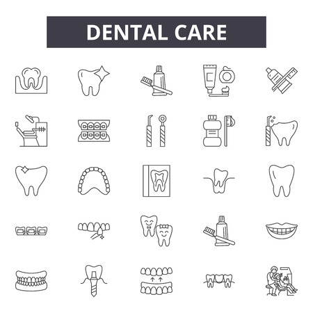 Dental care line icons, signs set, vector. Dental care outline concept illustration: tooth,dental,dentistry,dentist,medicine,health,care,medical,toothbrush