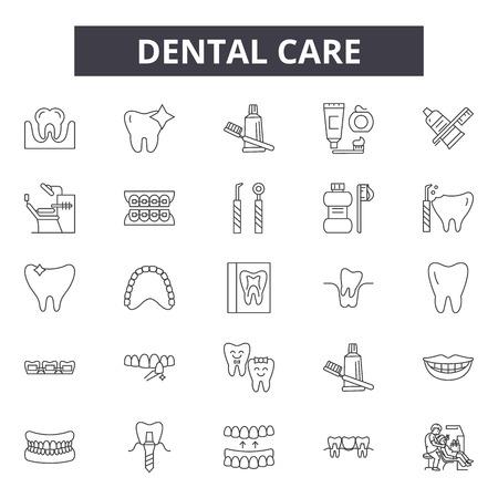 Dental care line icons, signs set, vector. Dental care outline concept illustration: tooth,dental,dentistry,dentist,medicine,health,care,medical,toothbrush