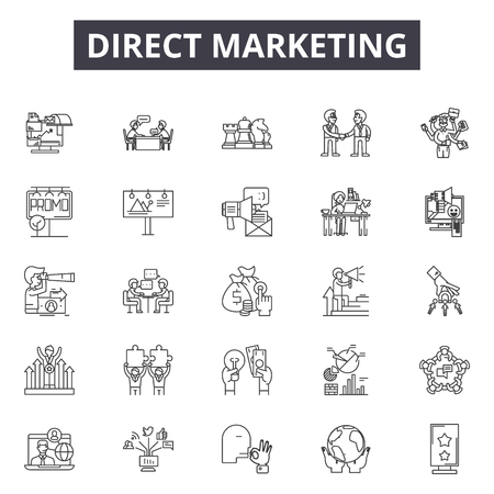 Direct marketing line icons, signs set, vector. Direct marketing outline concept illustration: marketing,business,target,email,mobile,direct Çizim