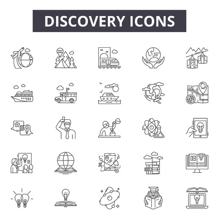 Discovery line icons, signs set, vector. Discovery outline concept illustration: discovery,desearch,equipment,research