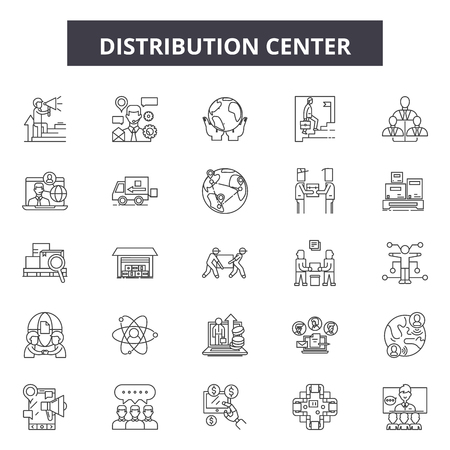 Distribution center line icons, signs set, vector. Distribution center outline concept illustration: distribution,warehouse,center,business,delivery,cargo,symbol Illustration