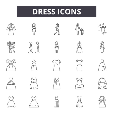 Dress line icons, signs set, vector. Dress outline concept illustration: dress,female,clothing,fashion,clothes,lady