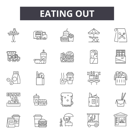 Eating out line icons, signs set, vector. Eating out outline concept illustration: food,dinner,eat,fork,lunch,isolated