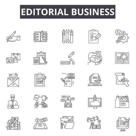 Editorial business line icons, signs set, vector. Editorial business outline concept illustration: editorial,business,technology,internet,communication,design Illustration