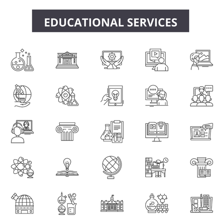 Educational services line icons, signs set, vector. Educational services outline concept illustration: education,service,business,computer,knowledge,flat 向量圖像