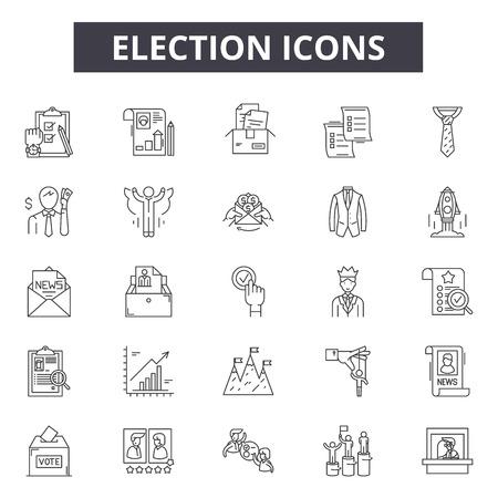 Ikony linii wyborczej, zestaw znaków, wektor. Ilustracja koncepcja zarysu wyborów: rząd, wybory, głosowanie, polityka, głosowanie, wyborca, polityka, prezydent, głosowanie, pole