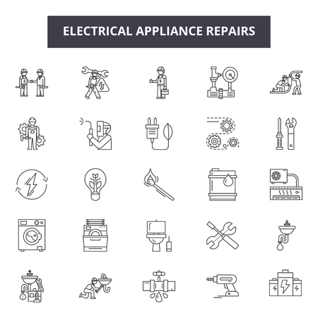 Electrical appliance repairs line icons, signs set, vector. Electrical appliance repairs outline concept illustration: repair,electric,home,equipment,machine,kitchen Banco de Imagens - 123581987