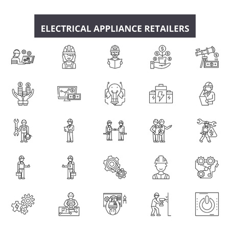 Electrical appliance retailers line icons, signs set, vector. Electrical appliance retailers outline concept illustration: store,retail,equipment,household,machine,sale,home,kitchen,symbol Illustration