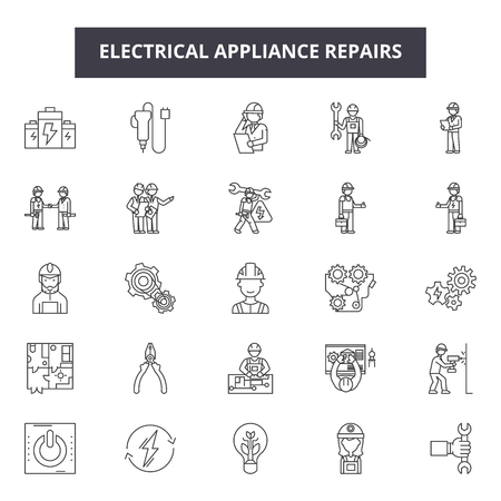 Electrical apppliance repairs line icons, signs set, vector. Electrical apppliance repairs outline concept illustration: repair,electric,home,equipment,machine,kitchen