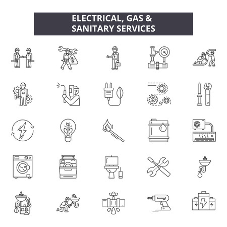 Elektrische Gas- und Sanitärleitungen Symbole, Zeichensatz, Vektor. Elektrische Gas- und Sanitärdienstleistungen skizzieren Konzeptillustration: isoliert, Service, Kraftstoff, Wärme, Gas, Strom, Sanitär, Haus, Industrie