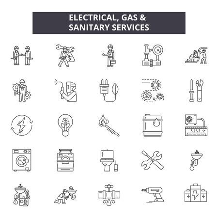 Iconos de línea de servicios sanitarios y de gas eléctrico, conjunto de signos, vector. Ilustración de concepto de esquema de servicios sanitarios y de gas eléctrico: aislado, servicio, combustible, calor, gas, eléctrico, sanitario, doméstico, industrial