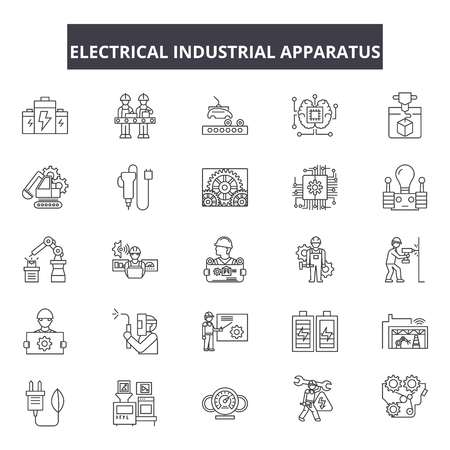 Electrical industrial apparatus line icons, signs set, vector. Electrical industrial apparatus outline concept illustration: apparatus,industry,equipment,electric,isolated,gas Stock fotó - 123581989