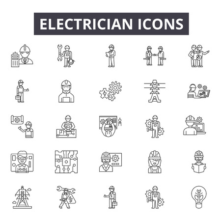 Electrician line icons, signs set, vector. Electrician outline concept illustration: electrician,electricity,power,energy,electric,set