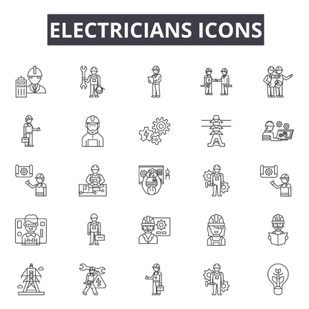 Electricians line icons, signs set, vector. Electricians outline concept illustration: electrician,electricity,power,energy,electric,set Vector Illustration