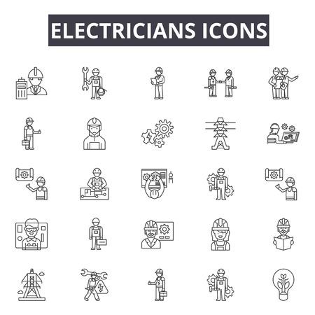 Electricians line icons, signs set, vector. Electricians outline concept illustration: electrician,electricity,power,energy,electric,set