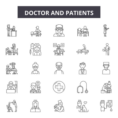 Doctor and patients line icons, signs set, vector. Doctor and patients outline concept illustration: patient,doctor,medical,health,hospital,care,medicine,stethoscope,nurse