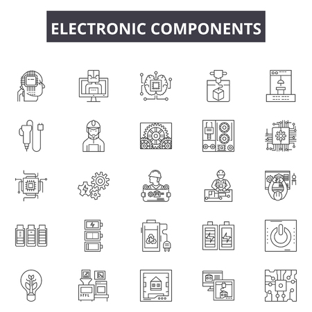 Electronic components line icons, signs set, vector. Electronic components outline concept illustration: computer,technology,processor,chip,component,electronic,cpu  イラスト・ベクター素材