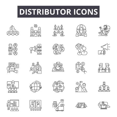 Ikony linii dystrybutora, zestaw znaków, wektor. Ilustracja konspektu dystrybutora: dystrybutor, dostawa, dystrybucja, mieszkanie, sieć, czarny, struktura