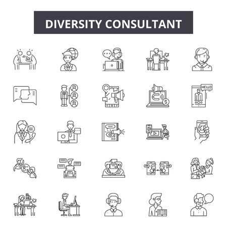 Diversity consultant line icons, signs set, vector. Diversity consultant outline concept illustration: concept,diversity,team,man,business,person,people Vectores