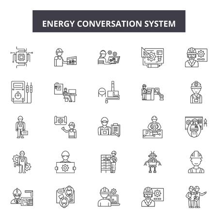 Energy conversation system line icons, signs set, vector. Energy conversation system outline concept illustration: energy,system,technology,internet,home,communication,future,modern Çizim