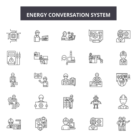 Energy conversation system line icons, signs set, vector. Energy conversation system outline concept illustration: energy,system,technology,internet,home,communication,future,modern Illustration