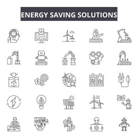 Energy saving solutions line icons, signs set, vector. Energy saving solutions outline concept illustration: energy,solution,power,innovation,idea,light,bulb,creative Standard-Bild - 123581997
