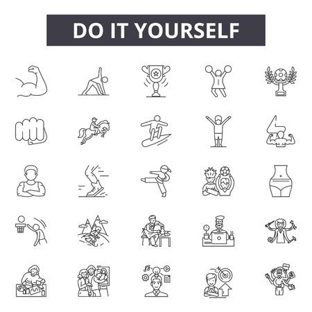 Do it yourself Liniensymbole, Zeichensatz, Vektor. Do it yourself Umrisskonzept Illustration: DIY, Zuhause, Bau, Arbeit, Do, Yourself