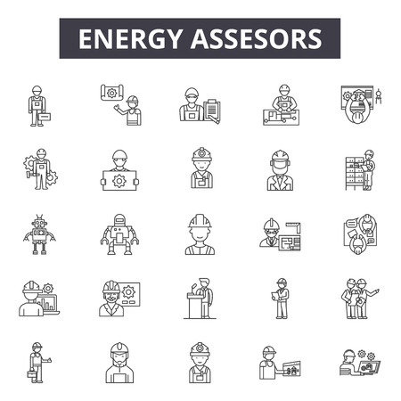 Energy assesors line icons, signs set, vector. Energy assesors outline concept illustration: indicator,business,concept,certificate,house,ecology,power,europe,green Ilustração