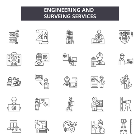 Engineering and surveing services line icons, signs set, vector. Engineering and surveing services outline concept illustration: flat,engineering,survey,technology,deset Ilustração