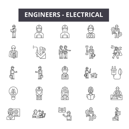 Engineers electrical line icons, signs set, vector. Engineers electrical outline concept illustration: power,electric,energy,electricity,engineer,technology Illustration