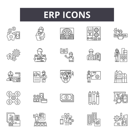 Erp line icons, signs set, vector. Erp outline concept illustration: business,erp,data,service,success,software,sales,information