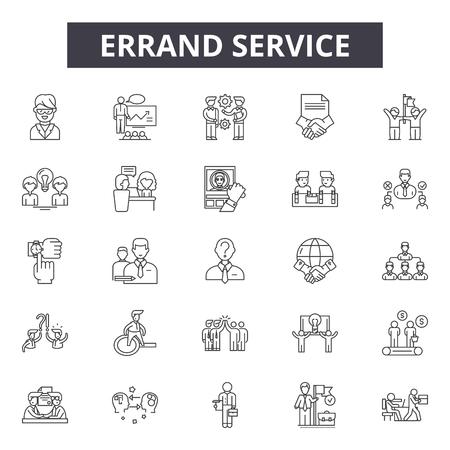 Errand service line icons, signs set, vector. Errand service outline concept illustration: service,job,cartoon,business,man,work,uniform