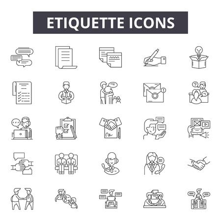 Etiquette line icons, signs set, vector. Etiquette outline concept illustration: etiquette,flat,isolated,derestaurant