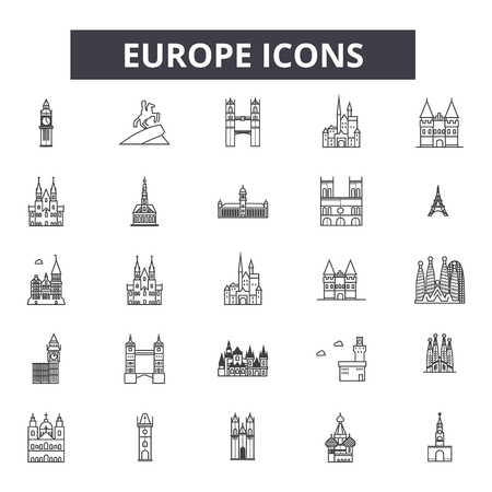 Europe line icons, signs set, vector. Europe outline concept illustration: europe,country,european,world,background