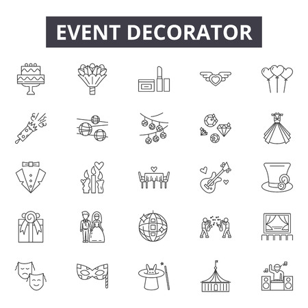Event decorator line icons, signs set, vector. Event decorator outline concept illustration: debusiness,event,decorator,internet,web,interior,concept,abstract