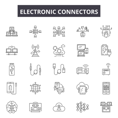 Electronic connectors line icons, signs set, vector. Electronic connectors outline concept illustration: connector,technology,cable,equipment,power,electronic,connect,wire,data Illustration