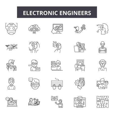 Electronic engineers line icons, signs set, vector. Electronic engineers outline concept illustration: computer,engineering,electronic,electrical,deproduction,engineer Illustration