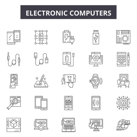 Electrronic computers line icons, signs set, vector. Electrronic computers outline concept illustration: Top 45 Keywords:,tv,equipment,app,digital,image,reflection,wide,television,display