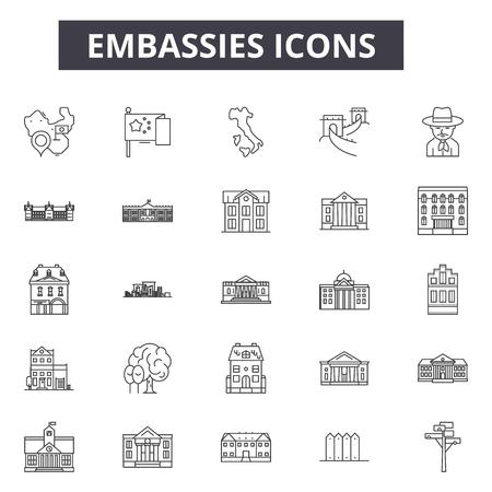 Icone della linea di ambasciate, set di segni, vettore. Illustrazione del concetto di contorno delle ambasciate: ambasciata, affari, edificio, governo, università