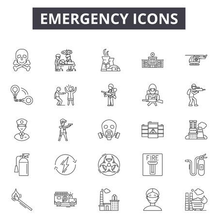 Emergency line icons, signs set, vector. Emergency outline concept illustration: emergency,fire,danger,ambulance,alarm,design 向量圖像
