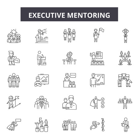 Executive mentoring line icons, signs set, vector. Executive mentoring outline concept illustration: mentor,executive,people,business,education,leadership,businessman,manager