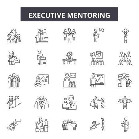 Iconos de línea de tutoría ejecutiva, conjunto de signos, vector. Ilustración del concepto de esquema de tutoría ejecutiva: mentor, ejecutivo, personas, negocios, educación, liderazgo, empresario, gerente