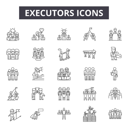 Executors line icons, signs set, vector. Executors outline concept illustration: executor,isolated,person,desilhouette,black