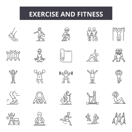 Exercise and fitness line icons, signs set, vector. Exercise and fitness outline concept illustration: gym,fitness,sport,exercise,health,weight Archivio Fotografico - 120895390
