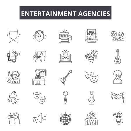 Entertaiment agencies line icons, signs set, vector. Entertaiment agencies outline concept illustration: entertainment,agency,service,event,party,marketing