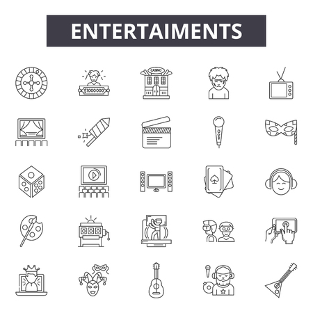 Entertaiments line icons, signs set, vector. Entertaiments outline concept illustration: isolated,black,entertaiment,flat,deoutsilhouette 일러스트
