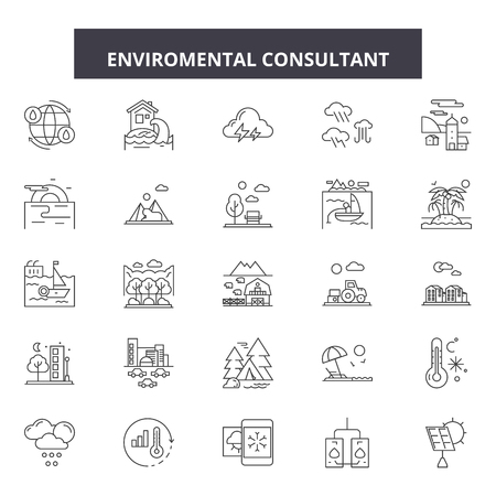 Enviromental consultant line icons, signs set, vector. Enviromental consultant outline concept illustration: environmental,consulting,management,business,green,ecology,environment,modern