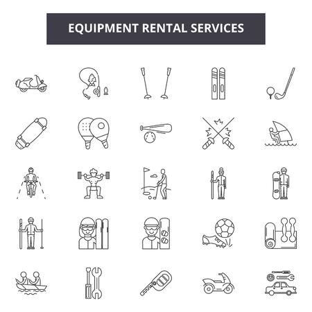 Equipment rental services line icons, signs set, vector. Equipment rental services outline concept illustration: rental,equipment,service,business,flat,rent