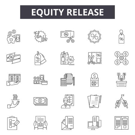 Eququity release line icons, signs set, vector. Eququity release outline concept illustration: money,debt,3d credit,mortgage,loan,finance,property,financial,credit line Ilustracja