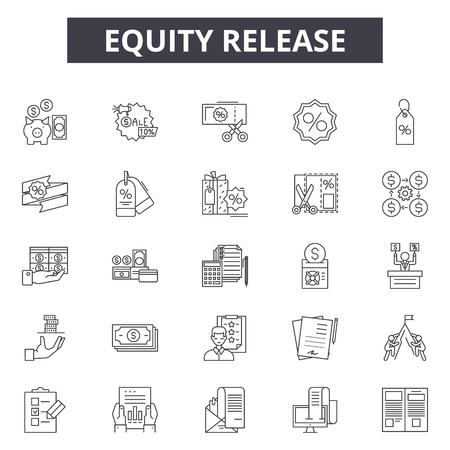 Icone della linea di rilascio di equità, set di segni, vettore. Illustrazione del concetto di profilo di rilascio di equità: denaro, debito, credito 3d, ipoteca, prestito, finanza, proprietà, finanziaria, linea di credito Vettoriali